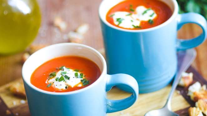 Roasted Tomato and Garlic Soup Recipe Is Perfect For A Light Dinner
