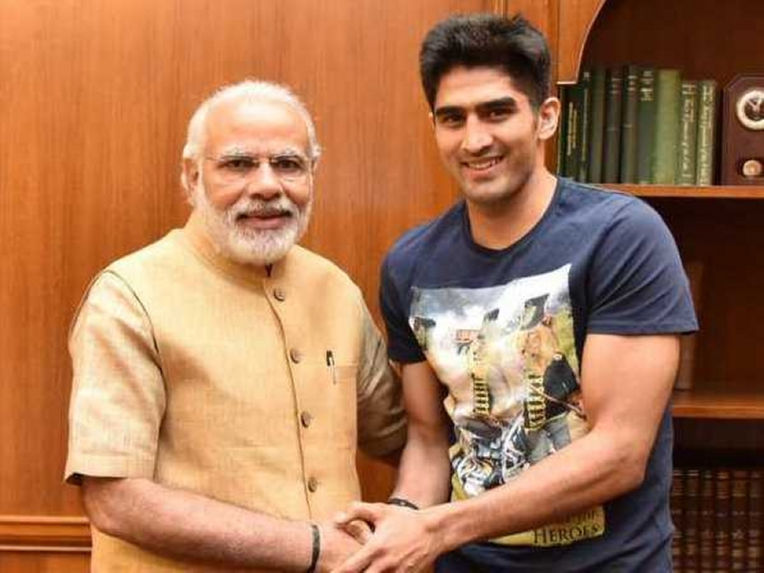 Vijender Singh Discusses State of Indian Boxing With Prime Minister Narendra Modi
